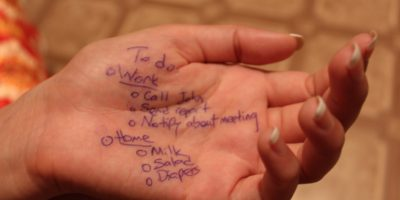 To-do list on hand